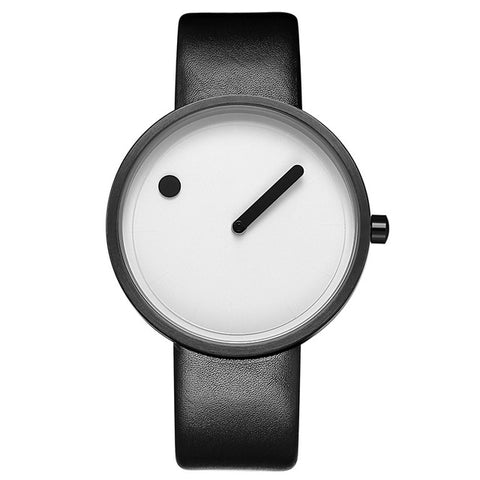 trendy minimalist pattern leather band analog wrist watch