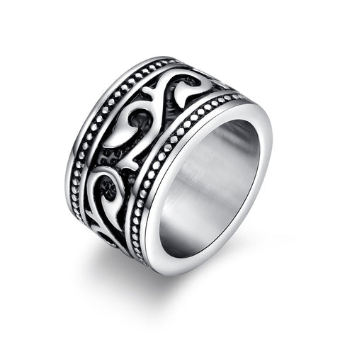 vintage stainless steel engraved barbed vine ring for men