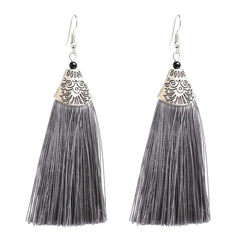 bohemian carved flowers tassel drop earrings for women