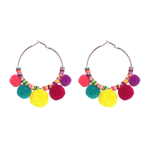 cute colorful pom pom beaded tassel drops earrings for women