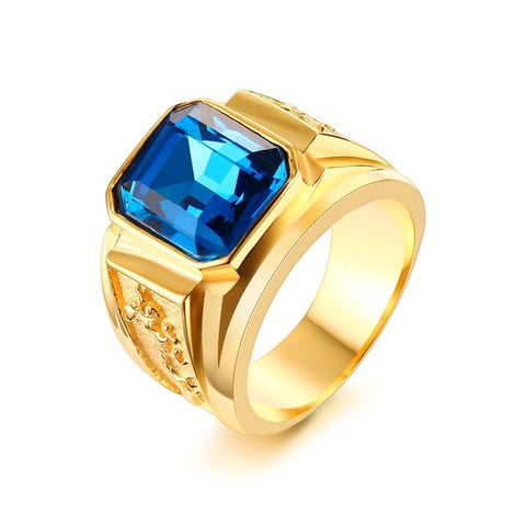 stainless steel engraved dragon red/blue stone ring for men