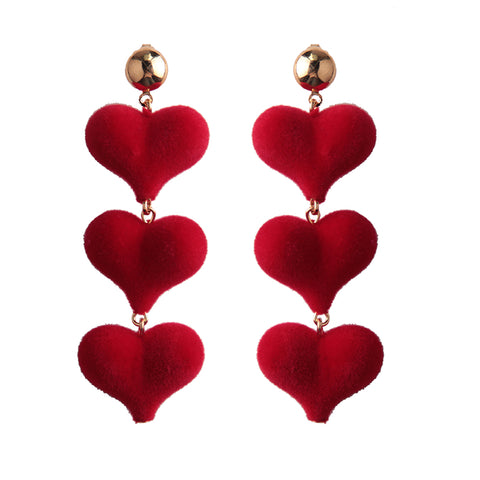 romantic triple red hearts drop earrings for women