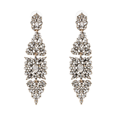 elegant crystal tassel statement stud earrings for women