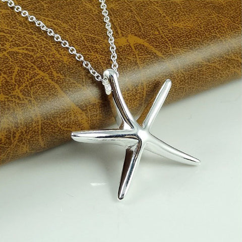 trendy silver plated starfish pendant necklace for women