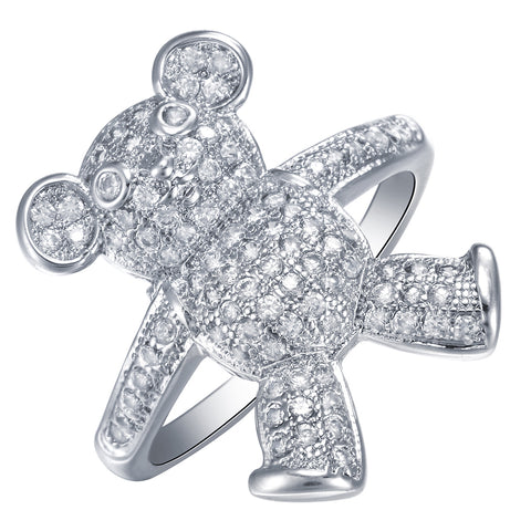 luxury cz crystal bear shape rhodium plated ring for women