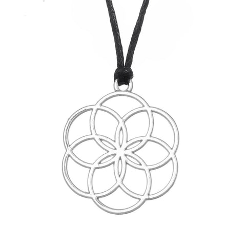trendy yoga flower of life hollow pendant necklace