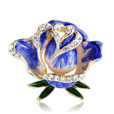 romantic blue rose flower with crystal brooch pin for women