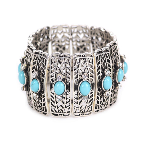 ethnic stretch crystal mosaic hollow out bracelet bangle for women