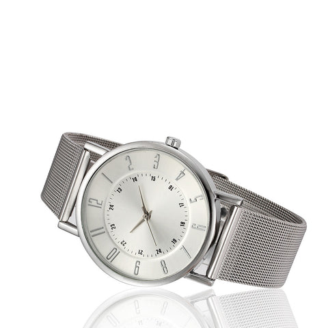 classic stainless steel band quartz wrist watch for women