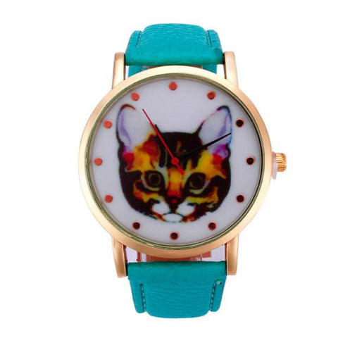 cute cat pattern leather band analog quartz watch for women