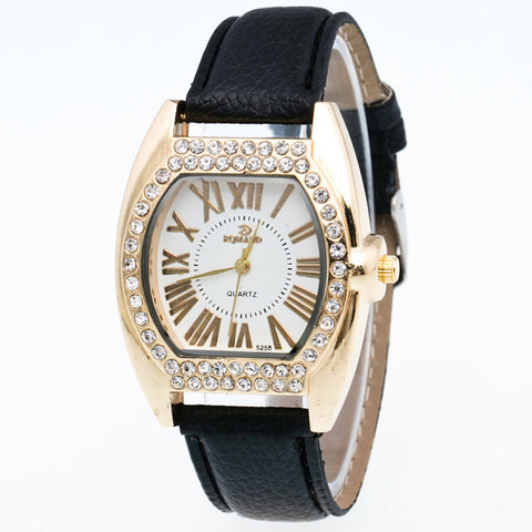 luxury crystal zircon dial quartz wrist watch for women