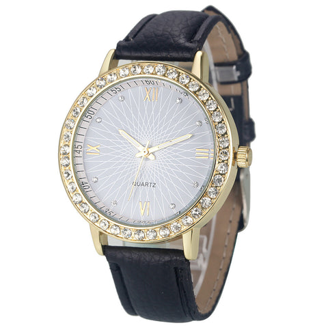 luxury crystal dial leather strap quartz wrist watch for women