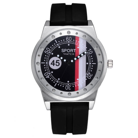 trendy leather band Analog quartz wrist watch for men