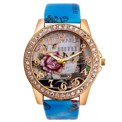romantic rose flower pattern crystal dial leather watch for women