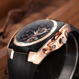 trendy thin silicon band sports quartz watch for men