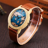 trendy world dial pattern leather band quartz wrist watch