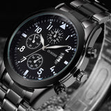 military stainless steel quartz steel band watch for men