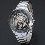 trendy skeleton automatic stainless steel wrist watch for men