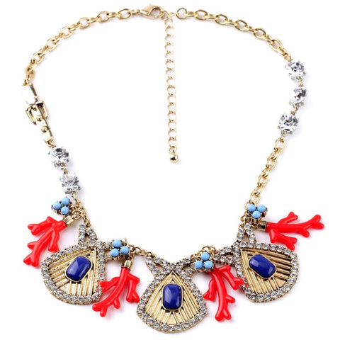 cute crystal sea shell shape tassel statement necklace for women