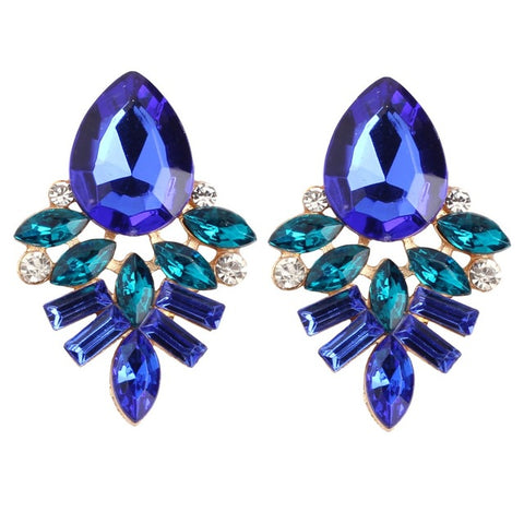 luxury geometric rhinestone crystal stud earrings for women