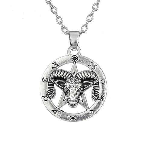 cool silver color ram pentagram pendant necklace for men