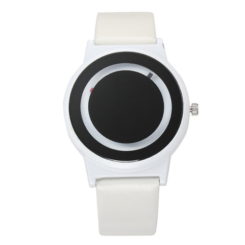 trendy minimalist black & white dial leather band quartz watch