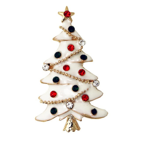 cute christmas tree crystal brooch pin jewelry