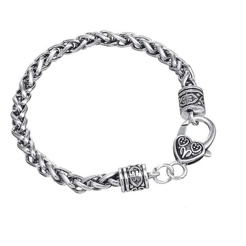 antique silver plated heart heavy chain bracelet