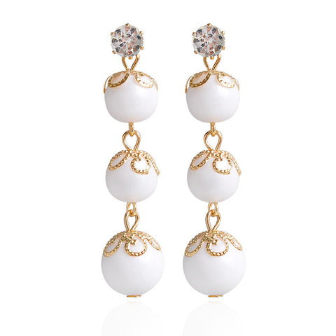 elegant simulated pearl long chain tassel earrings for women