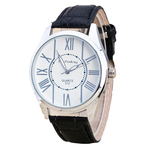 elegant stainless steel dial leather band watch for men