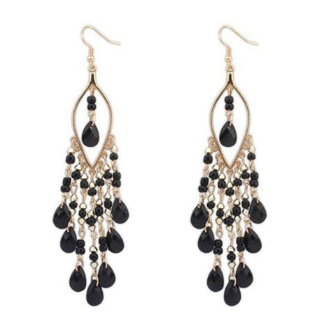 bohemian colorful beads tassel drop earrings for women