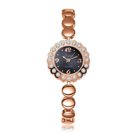 luxury crystal flower shape case wrist watch for women