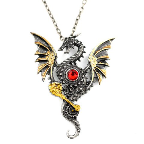 cool mechanical flying dragon pendant chain necklace