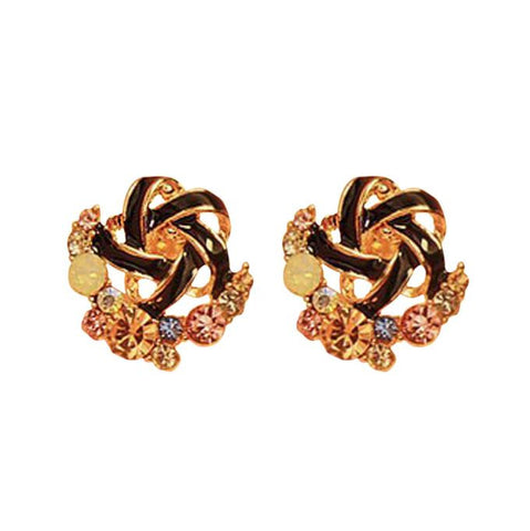 romantic small rhinestone flowers stud earrings for women