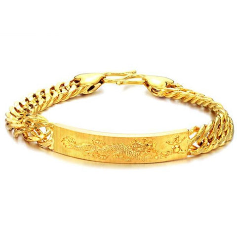cool gold color engrave bar bracelet for men