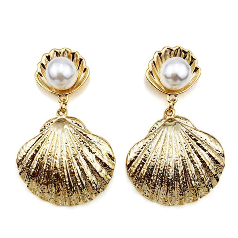 trendy simulated pearl metal shell stud earrings for women