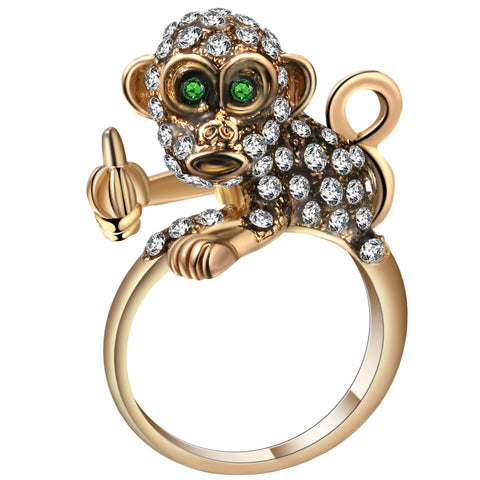 cute cubic zircon monkey design gold color ring for women