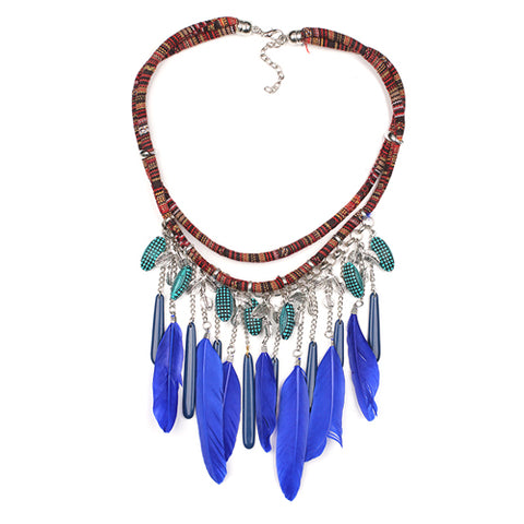 handmade multilayer feather statement necklace for women