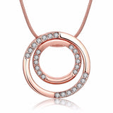 double circle cz crystal choker necklace & pendant