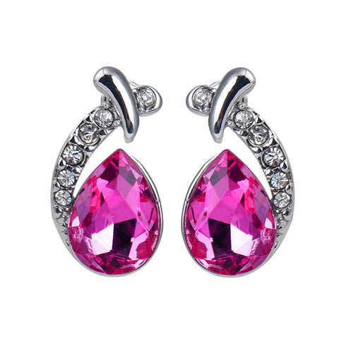 luxury silver plated crystal stud earrings for women