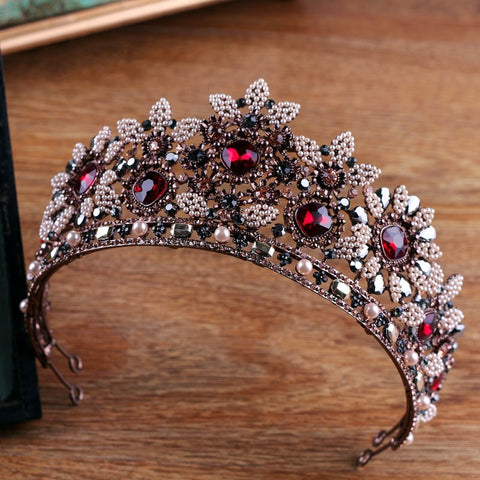 vintage crystal & simulated Pearl tiara crown hair band for women