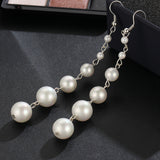 luxury simulated pearl beads long drop earrings for women