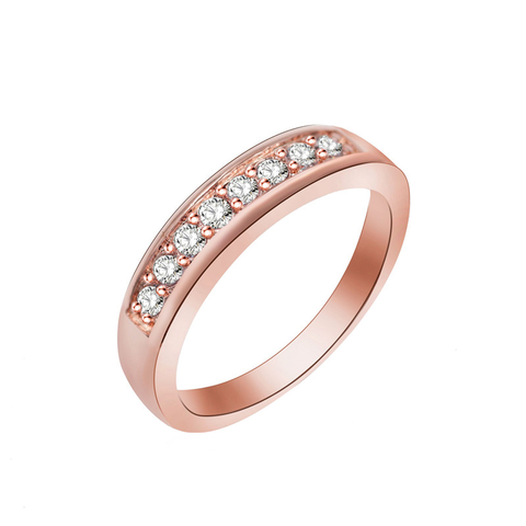 simple design gold/silver color zircon ring for women