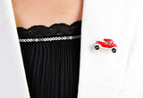 cute enamel old car shape crystal brooch pin jewelry