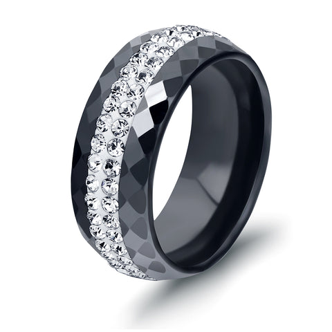 black and white ceramic & crystal ring for women