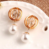 luxury simulated pearl & rhinestone hollow ball earrings for women