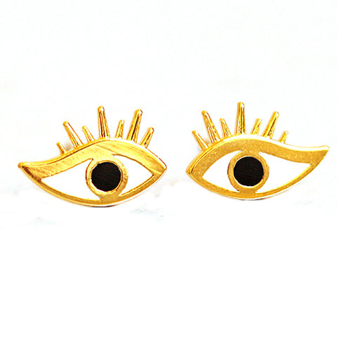 cute simple eye shape stud earrings for women