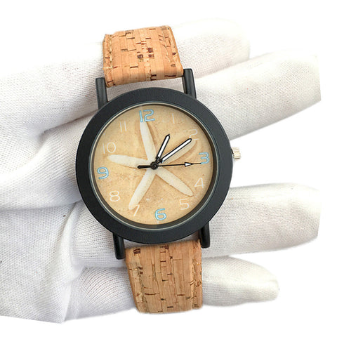 trendy sea star pattern cork band analog quartz watch