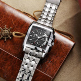 luxury big dial full steel band date quartz watch for men
