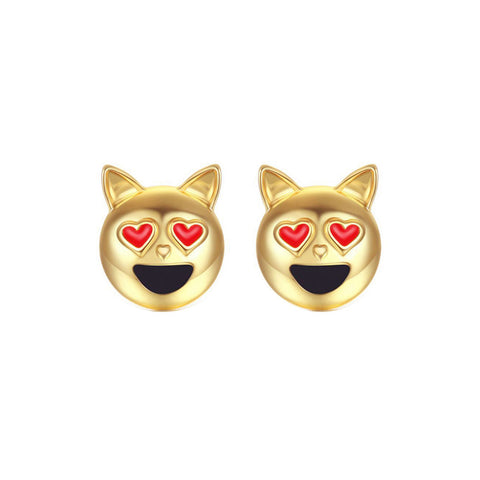 cute tiny cat head shape stud earrings for women